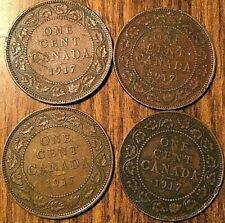 CANADA LARGE CENT PENNY LOT OF 4 1917 COINS