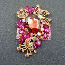 Exquisite Flower Charm Brooch Pin Betsey Johnson Women's Rose Pink Crystal