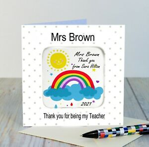 Teacher Personalised gift Thank you Coaster keepsake Card Rainbow or Butterfly