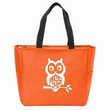 Owl Monogrammed Zipper Tote - Many Colors Available