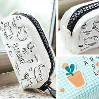 Big Zippers Canvas Makeup Pouch Pencil Case Pen Bag Coin School Stationery