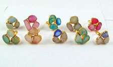 22K GOLD PLATED ROUGH SUGGAR DRUZY ALLOY CULSTER MULTI RING OVERLAY 10 PCS LOT