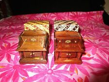 PAIR OF MINIATURES WOOD END TABLE NIGHT STAND - DOLL HOUSE  NIB
