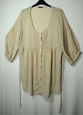 BEIGE LADIES CASUAL TUNIC TOP BLOUSE SIZE 16 HEART & SOUL