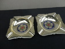 Vintage Chinese Brass and Enamelled Bat Ashtrays