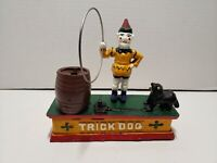 Vintage Circus Clown with Metal Ring Trick Dog Cast Iron Mechanical Bank