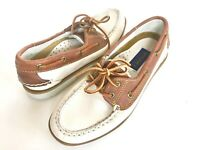 Sperry Top Sider All Leather 2 tone beige brown boat shoes women's 6 new