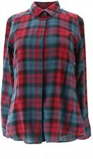 Joan Rivers Perfect Plaid Shirt Long Slvs Red Blue XXS # A309779