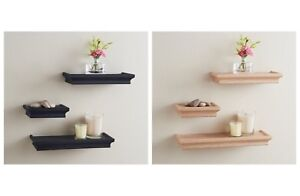 Set of 3 Wooden Effect Floating Shelf/Shelves Easy to Fit - 329107