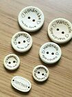 """HANDMADE WITH LOVE"" OR ""HANDMADE"" BUTTONS Natural Wooden Various Sizes"