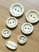 """Natural Wooden Round or Oval """"HANDMADE"""" BUTTONS Various Sizes-Craft-Sewing-Label"""