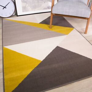 Yellow Grey Geometric Rugs for Living Room Sharp Bedroom Carpet Mats CLEARANCE