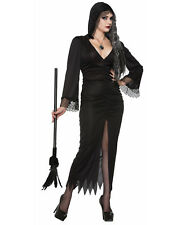 Gothic Sorceress Long Black Hooded Witch Gown Halloween Costume-Std