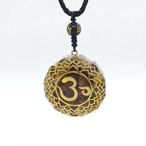 Tiger Eye Necklace Orgonite Ohm Sacred Geometry Pendant 7 Chakra Yoga Healing UK
