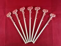 Vintage Barware Lot of 7 - Brennan's Rooster Swizzle Stir Sticks - New Orleans