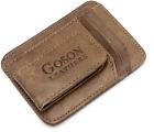 Goson Mens Leather Front Pocket Card Holder Wallet with Magnetic Money Clip