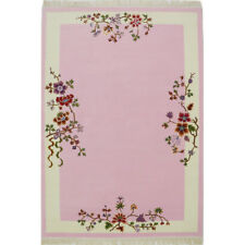 YILONG 4'x6' Pink Hand Woven Wool Carpet Chinese Art Deco Hand Knotted Area Rug