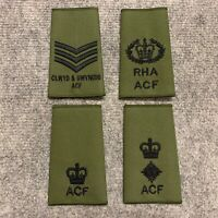 BRITISH ARMY OLIVE GREEN ACF RANK SLIDES,SERGEANT,WO2,MAJOR,LIEUTENANT COLONEL