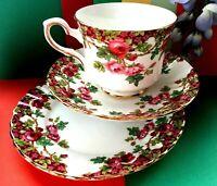 "Vintage Royal Stafford ""Olde English Garden"" China Tea Set Trio,Cup,Saucer,Plate"
