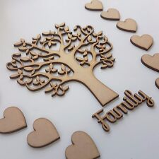 Wooden MDF Tree Set inc. 10 hearts and Family word - Arts and Craft SBT