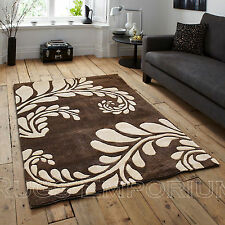 Brown Ivory Large Leaf Design Carved Rug 2cm Thick Modern 120x170cm Acrylic Rugs