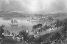 Ireland, COBH ISLAND CORK RIVER QUEENSTOWN SAILBOATS ~ 1839 Art Print Engraving