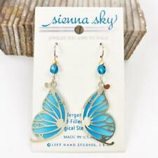 Sienna Sky Earrings 14K GF Hook Blue Butterfly Wing with Gold Plated Overlay