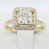 2.00 Ct Princess Cut Diamond Halo Engagement Wedding Ring 14k Yellow Gold Finish