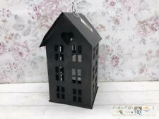 Chic Antique Shabby Schwarz gewischt Kerzenhaus Windlicht