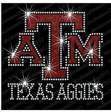 Texas Aggies  A & M - Bling - Iron-on Glitter Vinyl & Rhinestone Transfer