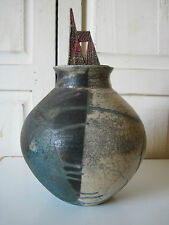 VINTAGE COLLECTIBLE JON OAKES SIGNED POTTERY VASE wFIGURAL CHAIR LID DATE 9/9/91