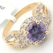 2.80TCW Amethyst & Cubic Zirconia Halo Cocktail Ring 14KY Gold Engagement Design