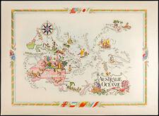1951 - Carte Australie et Océanie - Lithographie de Liozu - Map of Australia