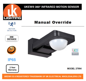 PIR Infrared Motion Sensor Black Outdoor 360 Degree manual override  IP65