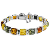 """Amber Bracelet Multi Color Sterling Silver Natural Baltic Jewelry Янтарь 7"""""""