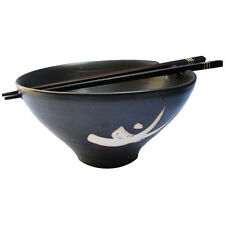Handmade Chinese/ Japanese Ceramic Stoneware Noodle Bowl with Chopsticks - Black