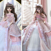 60cm 1/3 BJD Doll Girl with Free Eyes Face Makeup Clothes Full Set Outfit Gifts