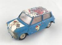 VINTAGE CORGI # 227 MINI COOPER RALLY CAR DIECAST CAR BLUE/WHITE RN 7 1961-64