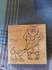 RUBBER STAMPS LITTLE BOY AND HIS DOG CUTE! LOOKING OUT WINDOW OR OVER FENCE