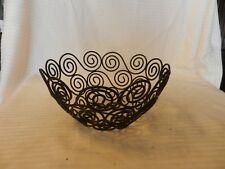 "Small Black Metal Wire Fruit Basket Filigree Design 4"" Tall x 8"" Diameter"