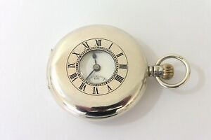 1927 GENTS SILVER J.W.BENSON LONDON HUNTER POCKET WATCH IN EXCELLENT CONDITION