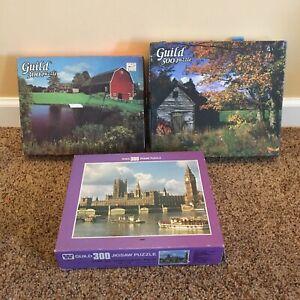 Lot of 3 Vintage Guild Jigsaw Puzzles 300 & 500 landscapes & London   #A4