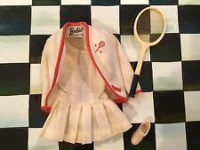 VINTAGE BARBIE DOLL TENNIS OUTFIT DRESS/JACKET 1 JAPAN SHOE/RACKET 1960'S BLACK