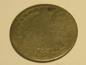 1853-P Arrows 90% Silver Seated Liberty Dime