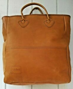 LL Bean Vintage Leather Extra Large Caramel Tote Shopping Bag 17 x 15 x 7