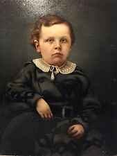19th Century Antique Oil Painting, Portrait Of Young Boy