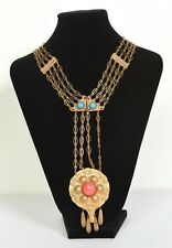 Vintage Egyptian Revival Necklace with Turquoise and Coral Stone or Cabochon