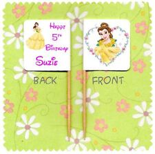 20 PERSONALISED DISNEY PRINCESS BELLE BEAUTY CUP CAKE FLAG Topper Decoration