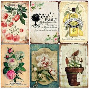 Fresh Cut Flowers Metal Tin Sign Vintage Wall Decor For Home Bar Family Gift