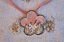 jewelry set pink butterfly necklace earrings crystals Silver tone set